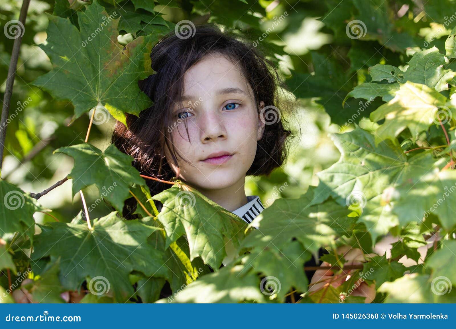 Das Gesicht eines recht jugendlich Mädchens unter Ahornurlaub