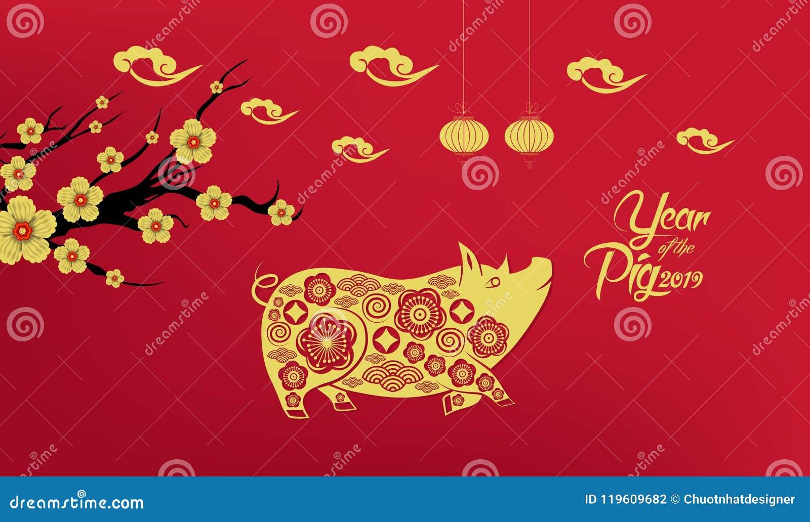 Das glückliche Chinesische Neujahrsfest, das vom Schweinpapier 2019-jährig ist, schnitt Art Sternzeichen für Grußkarte, Flieger,