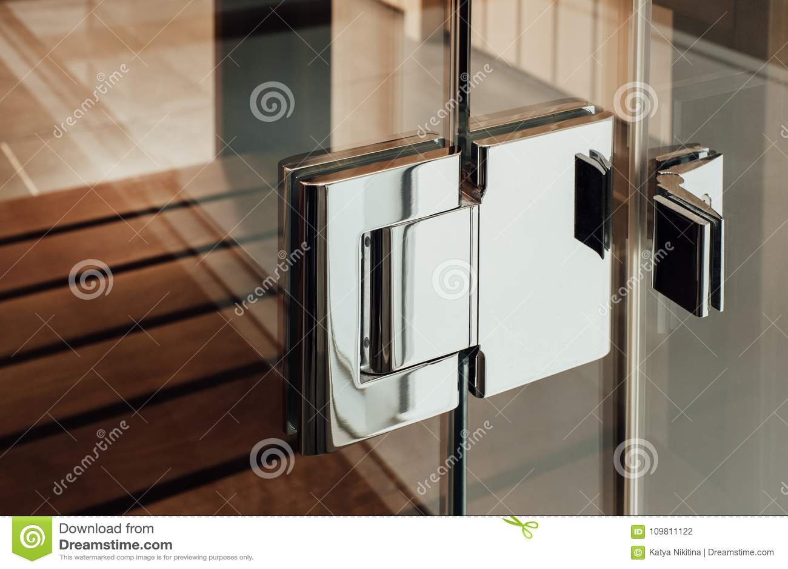 Das Glastürmetallscharnier Für Die Sauna, Das Badezimmer Oder Die ...