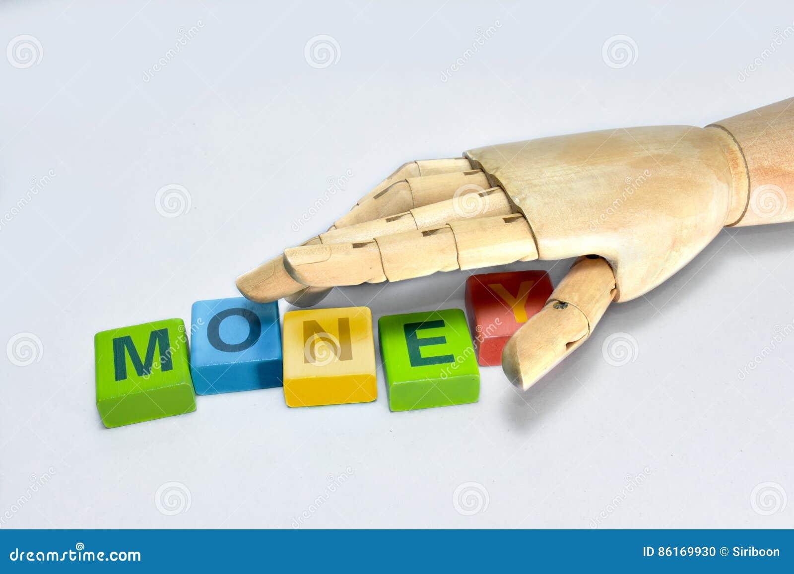 Das Handholz, das den Buchstaben ergreift, ist-, Geld herzustellen