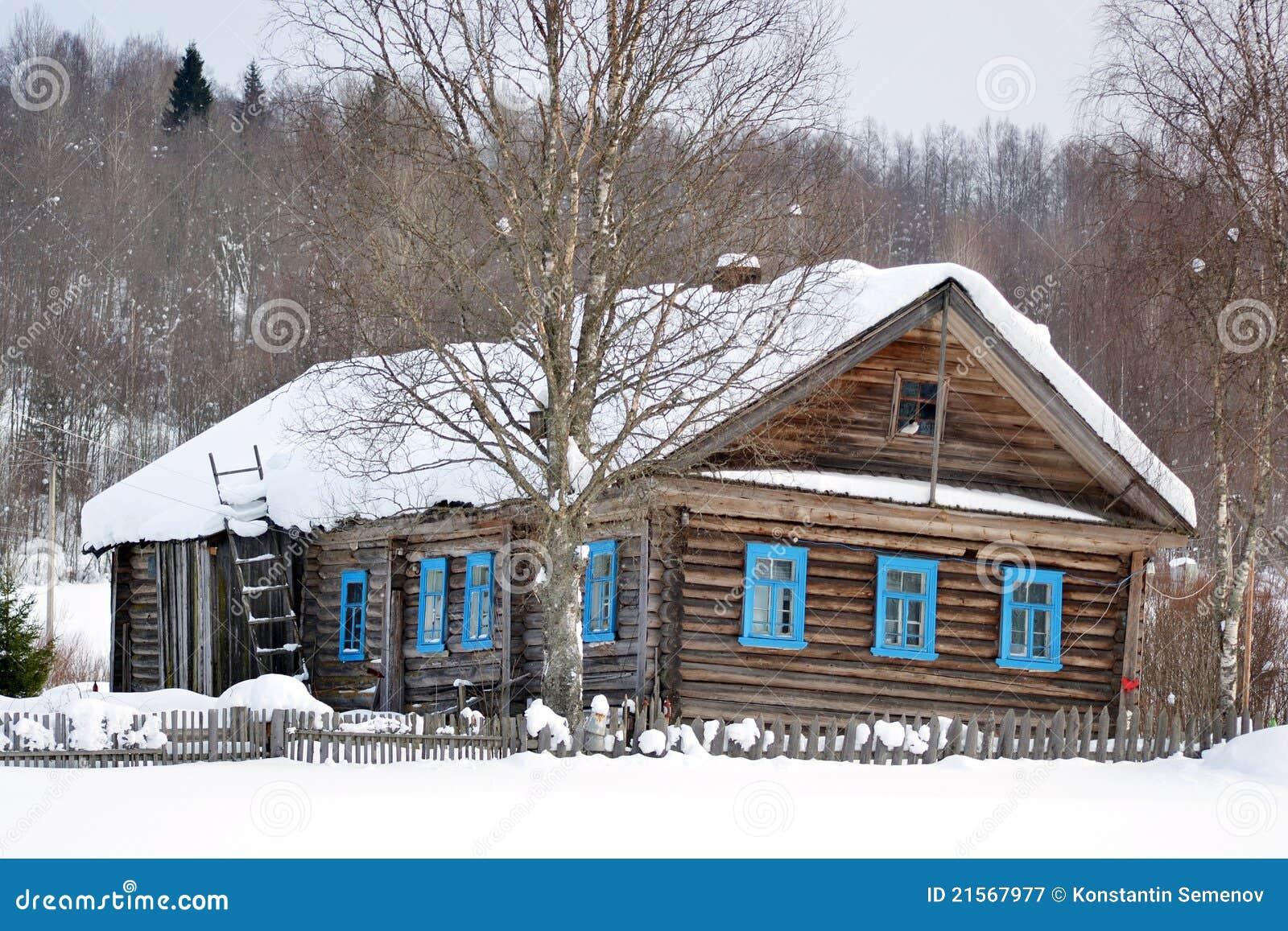 das haus des landarbeiters im russischen dorf stockbild bild 21567977. Black Bedroom Furniture Sets. Home Design Ideas