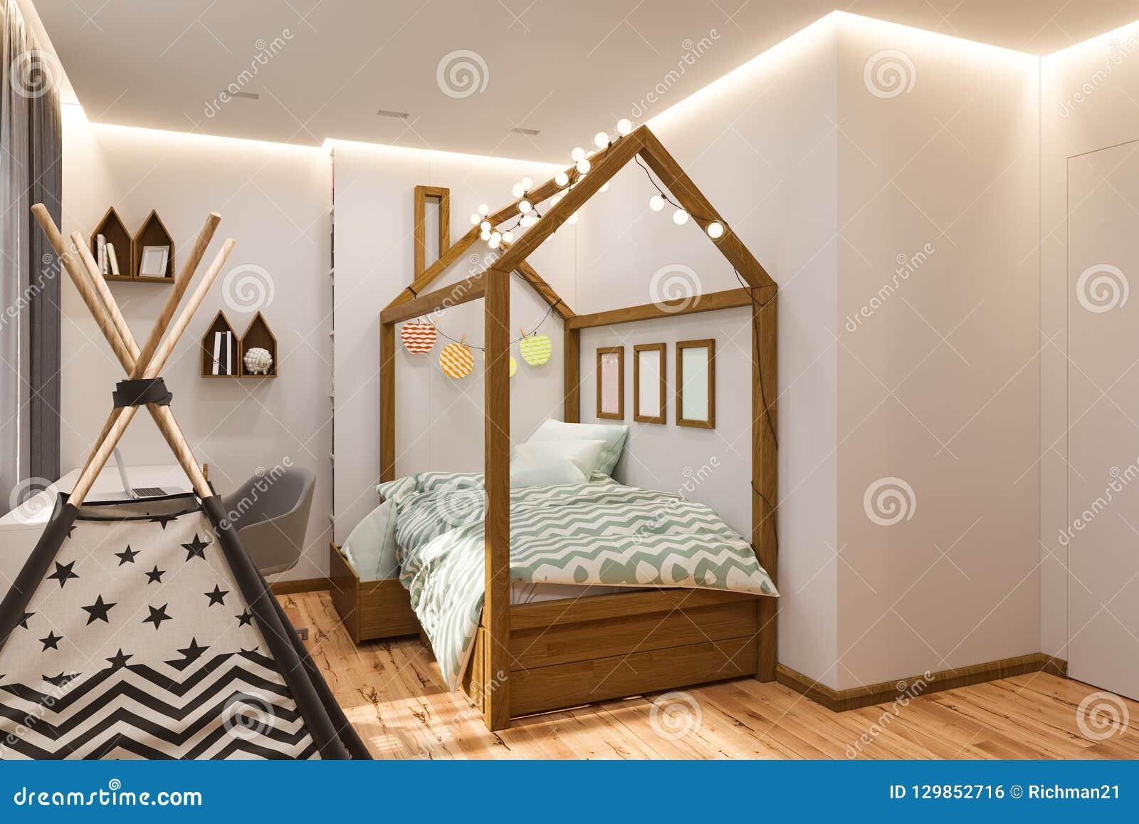 Das Innenarchitektur Spielzimmer Und Das Schlafzimmer Der Kinder ...