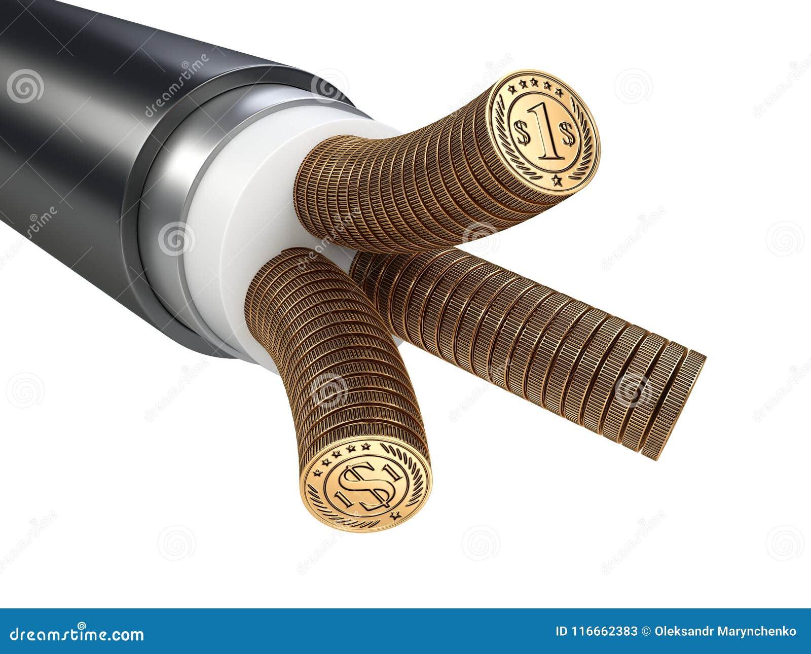 Das Kabel Ist Elektrisch Leiter Hergestellt Von Den Münzen Tarife