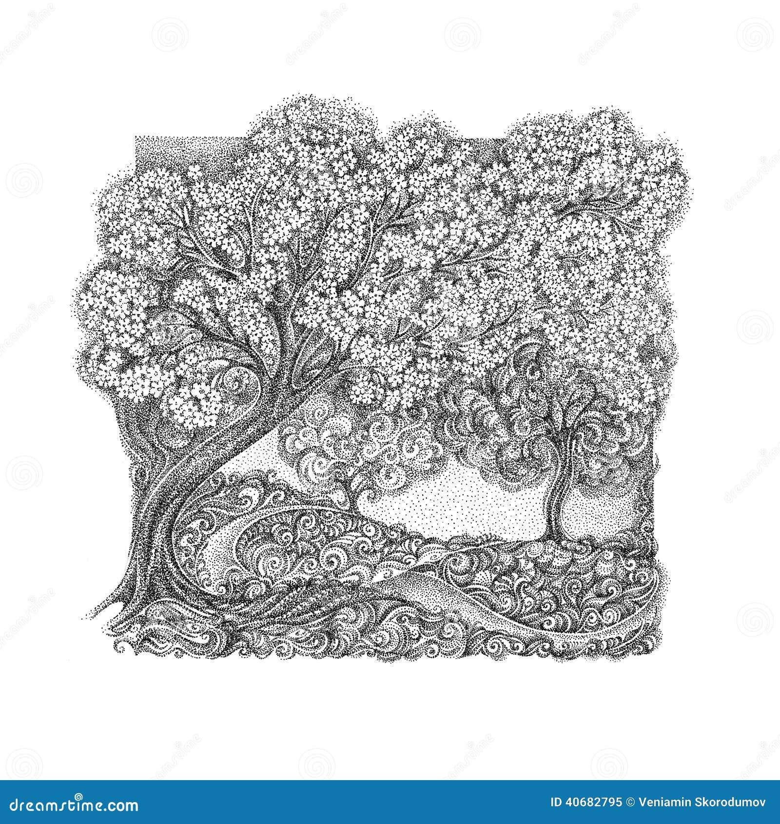 der kirschbaum stock illustrationen vektors klipart