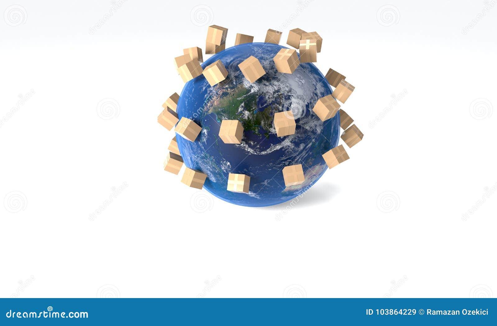 Das Konzept des kostenlosen Versands weltweit, Wiedergabe 3d