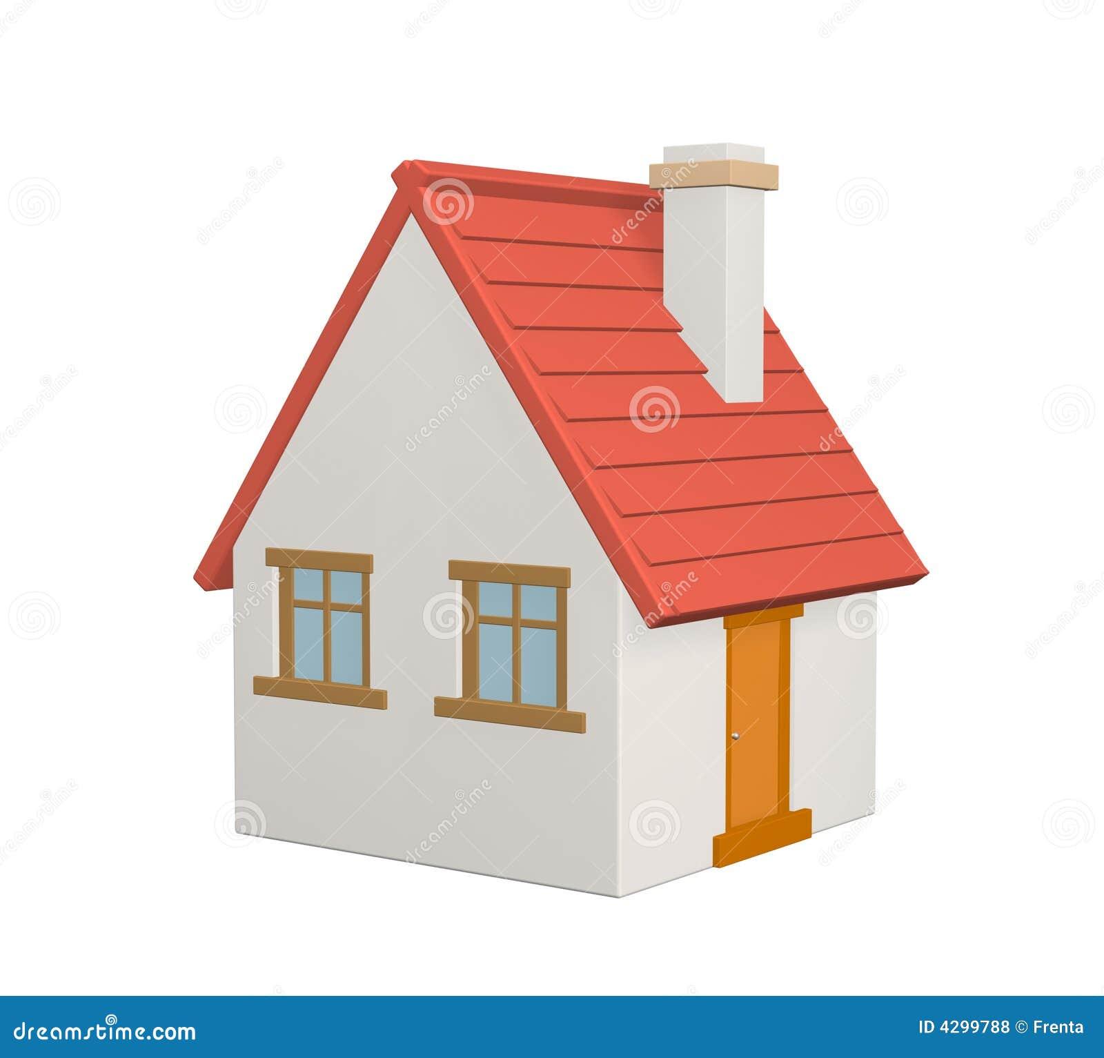 das landwirtschaftliche haus 3d mit einem roten dach lizenzfreie stockfotos bild 4299788. Black Bedroom Furniture Sets. Home Design Ideas