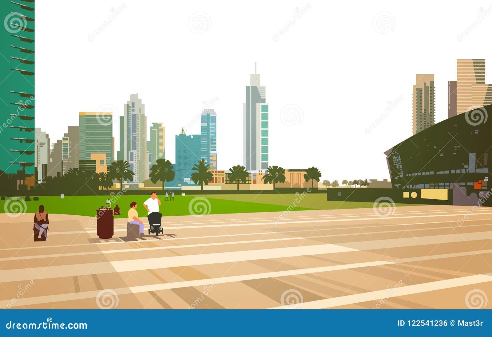 Das Leutegehen entspannen sich Stadionsarenakonzept über dem modernen horizontalen Stadtbildhintergrund der Wolkenkratzergebäude