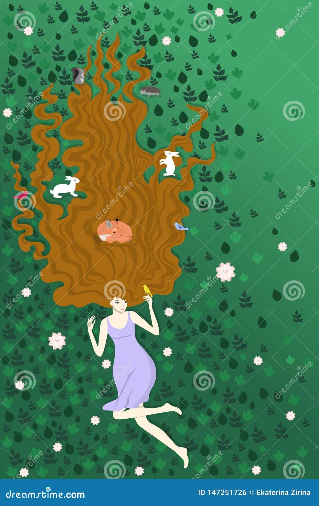 Das M?dchen, das auf dem gr?nen Gras zusammen mit Waldtieren liegt Illustration zeigt Liebe f?r Natur F?r Kampagnenplakate Anzeig