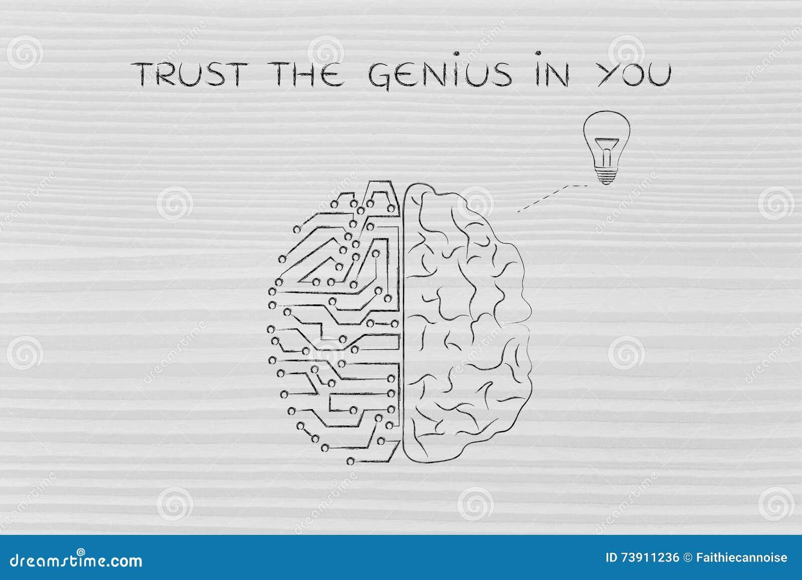 Das Menschen- und Stromkreisgehirn, das eine Idee hat, vertrauen dem Genie auf Sie
