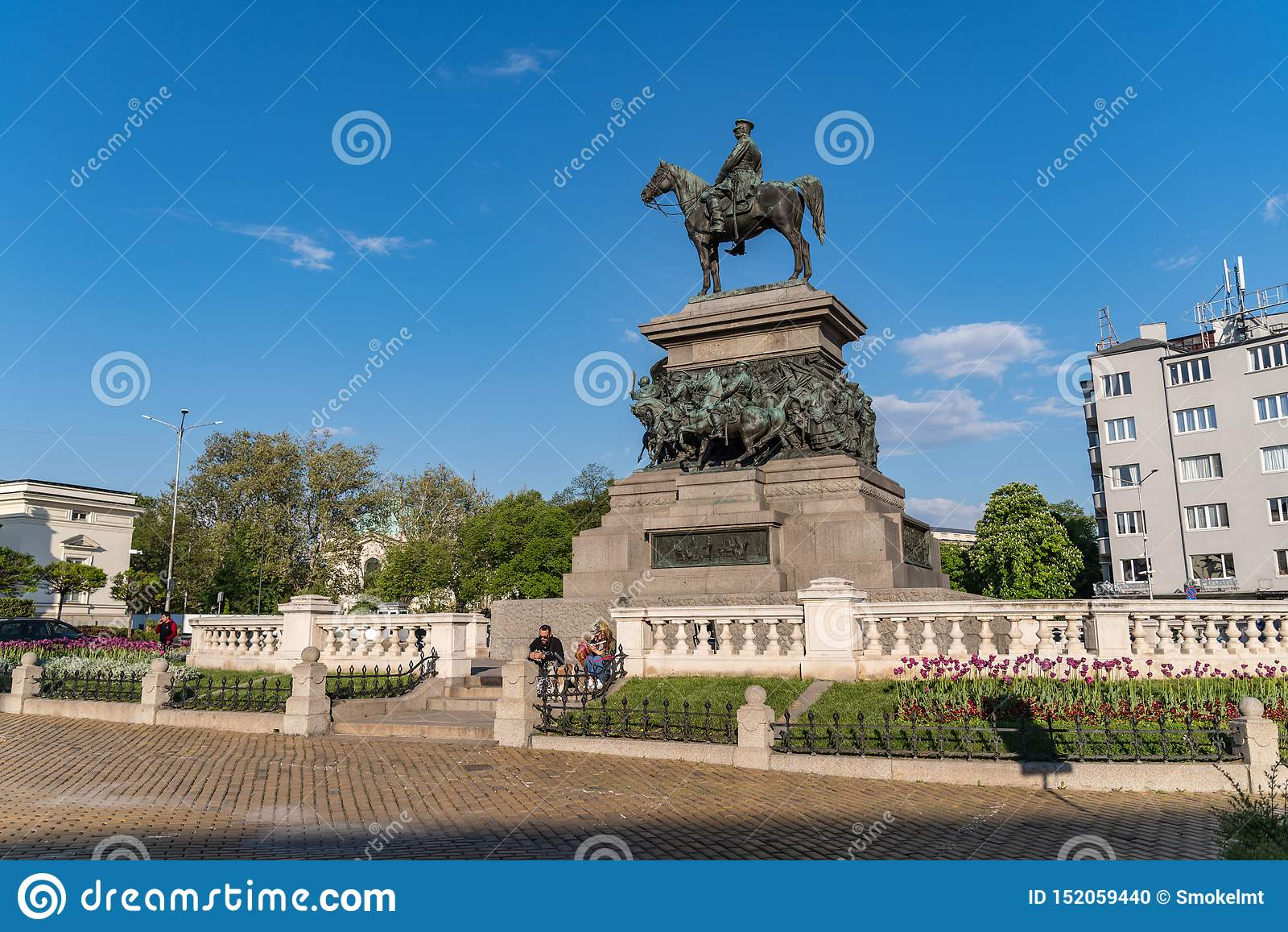 Das Monument zum Zar-Befreier Alexander II. Ist das imponierende Monument des russischen Kaisers sitzt zu Pferd in der Stadt
