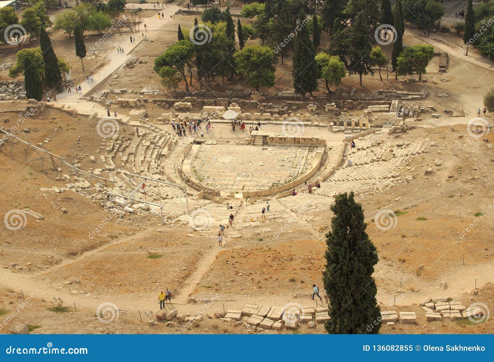 Das Odeon von Herodes-Atticus ist eine Steintheaterstruktur, die auf der Südsteigung, Athen gelegen ist
