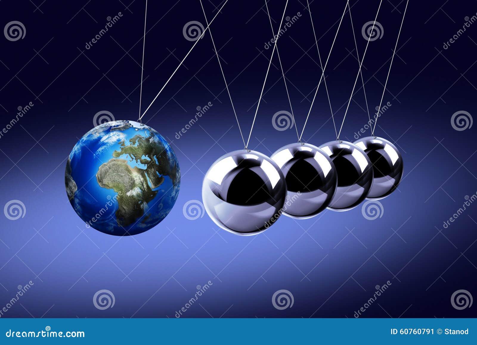 Das Pendel von Newton als der Erde