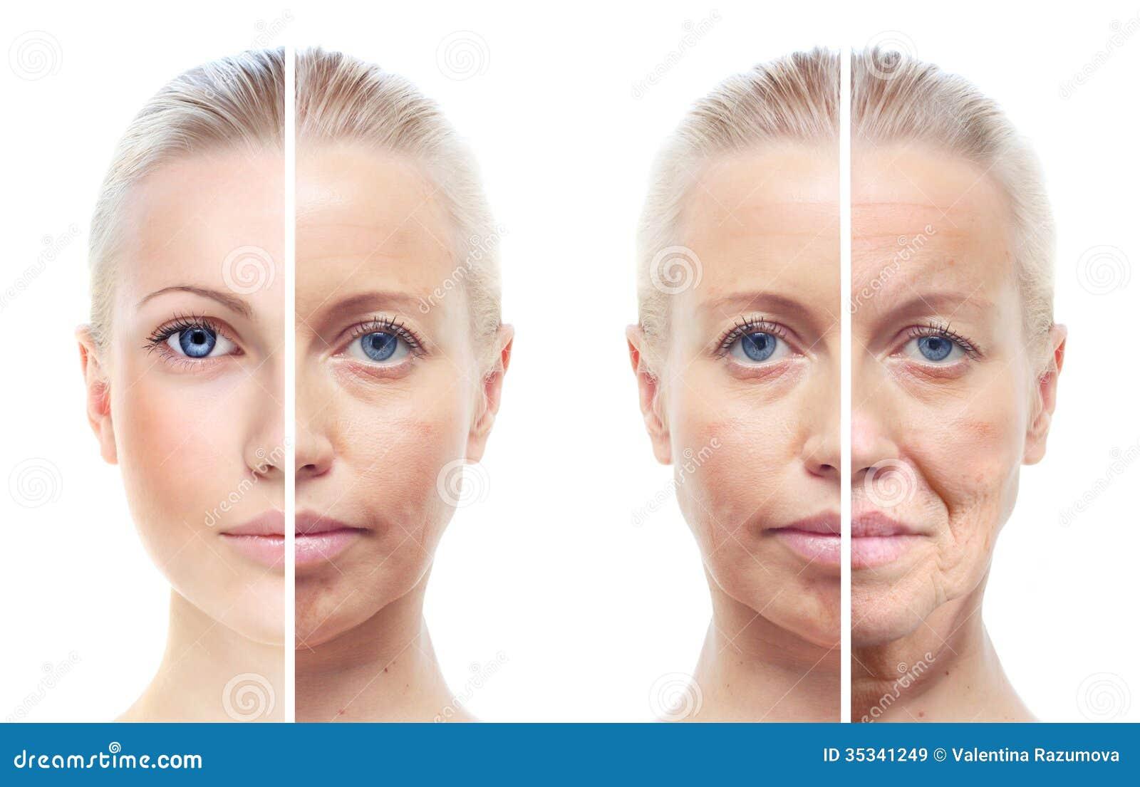 Die Maske für die Person mit den Vitaminen und dem Haferbrei