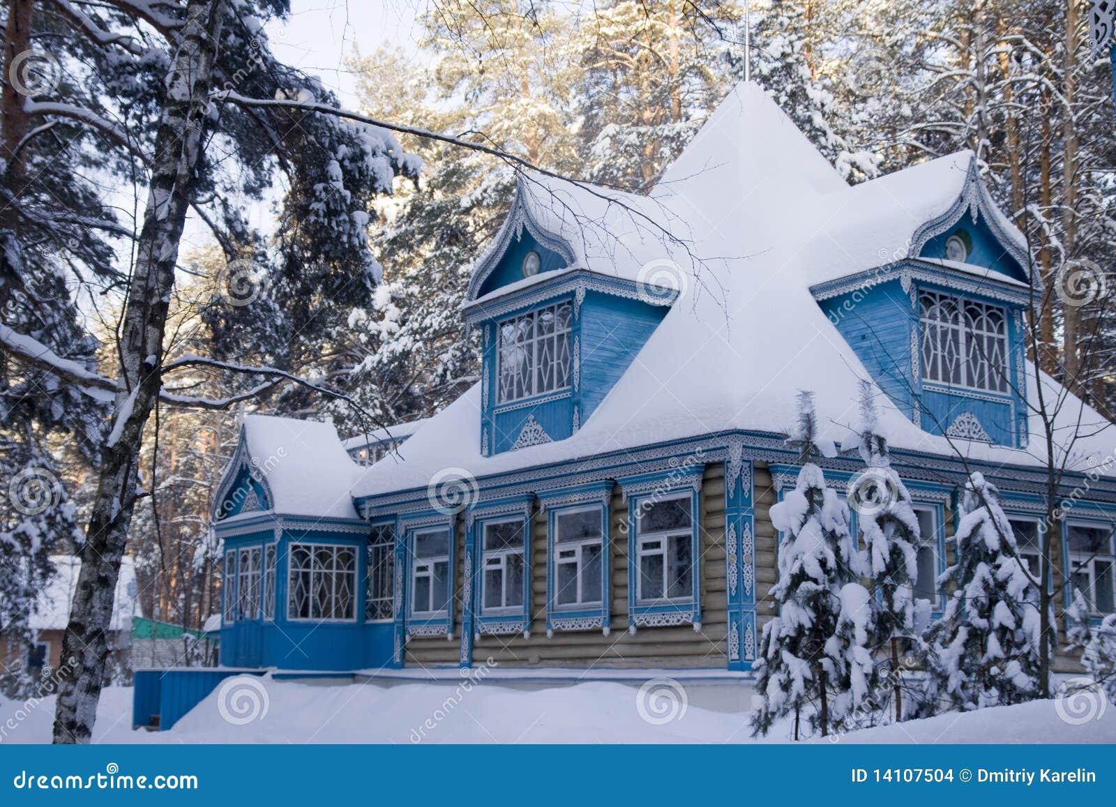 Das Russische Haus Im Winter Stockfoto Bild