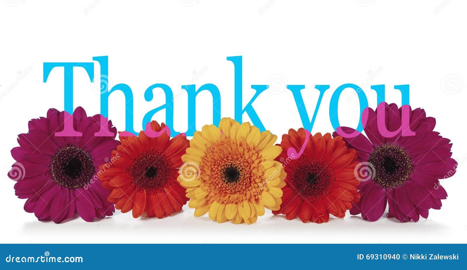 Das Sagen Danken Ihnen Mit Blumen Stockfoto Bild Von