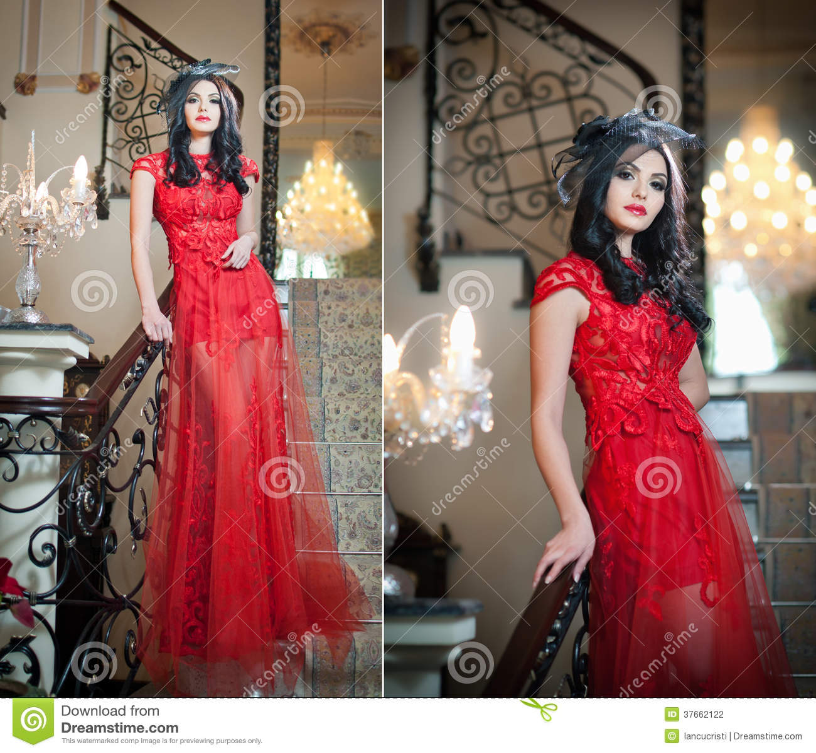 das sch ne m dchen in einem langen roten kleid das in. Black Bedroom Furniture Sets. Home Design Ideas