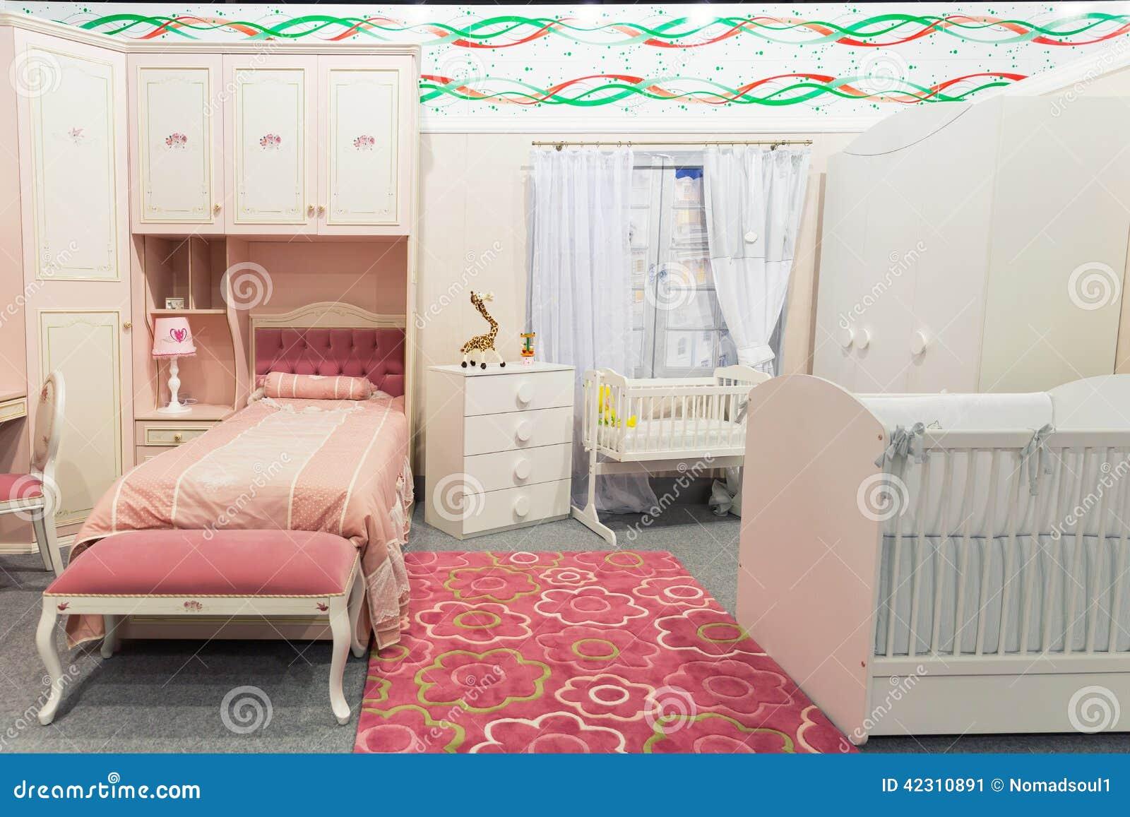 Das Schlafzimmer Des Babys In Den Pastellfarben Stockbild Bild Von