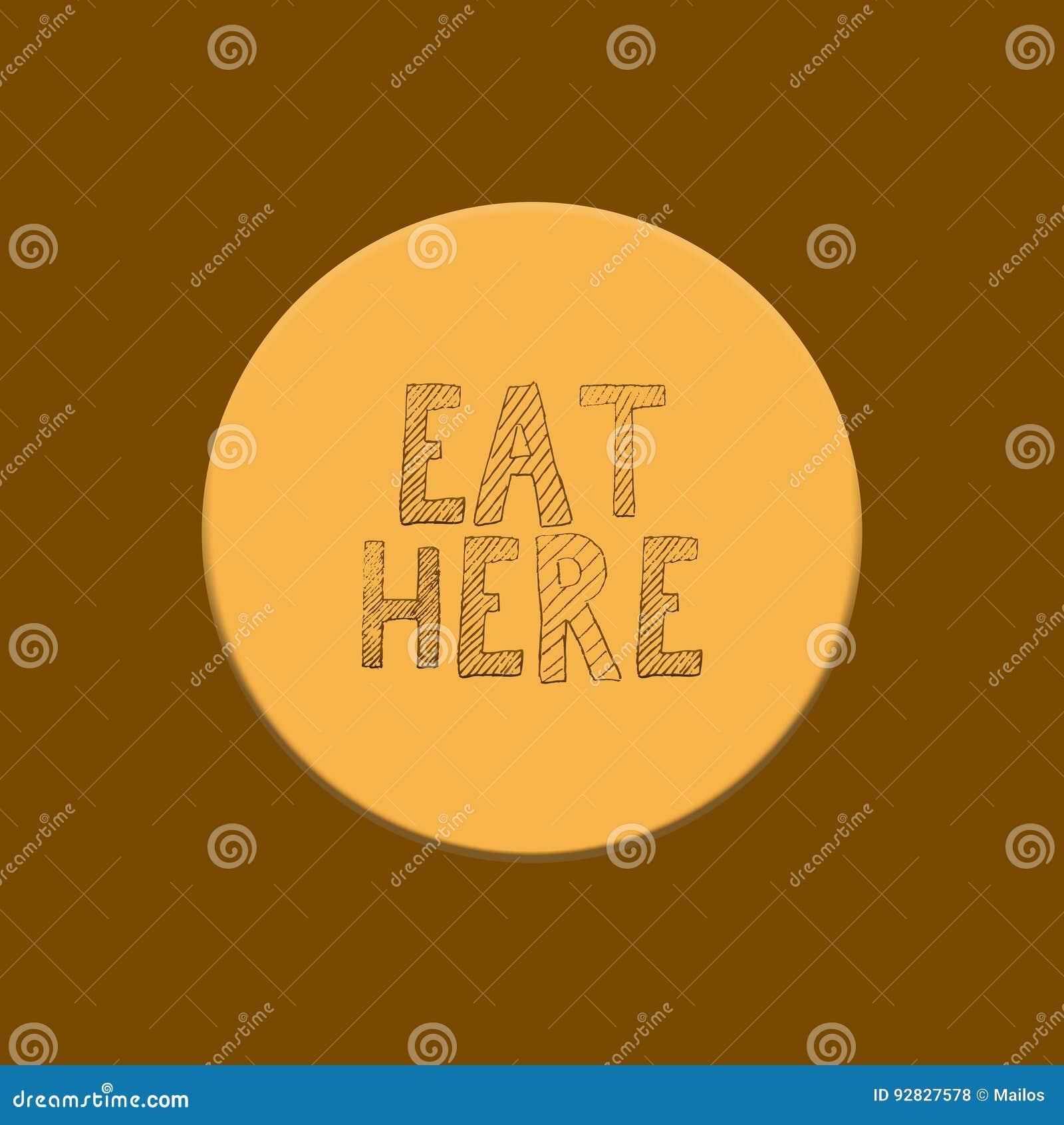 Das Schreiben essen hier auf gelbem und braunem Hintergrund