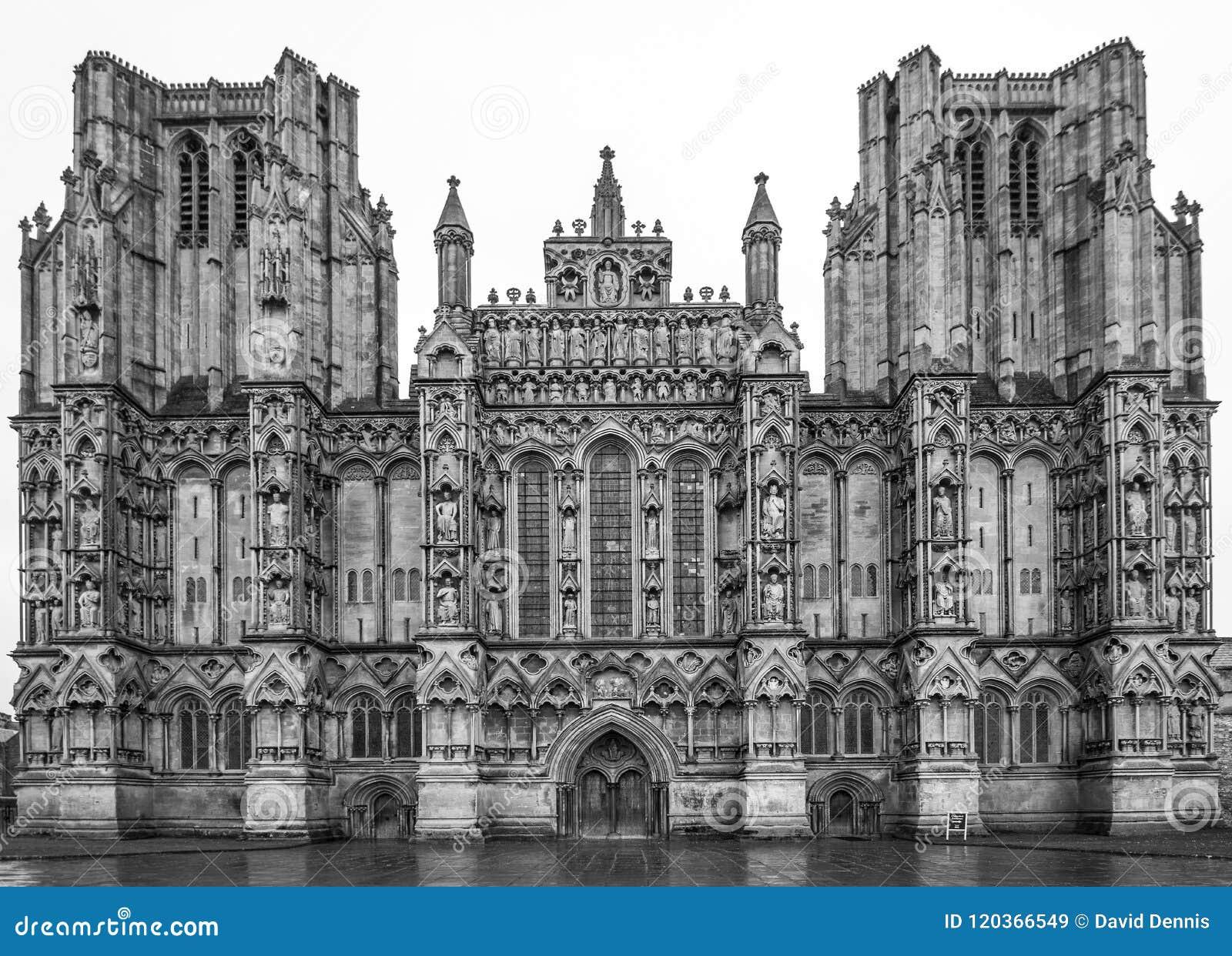 Das vordere Westgesicht von Wells-Kathedrale, Somerset England