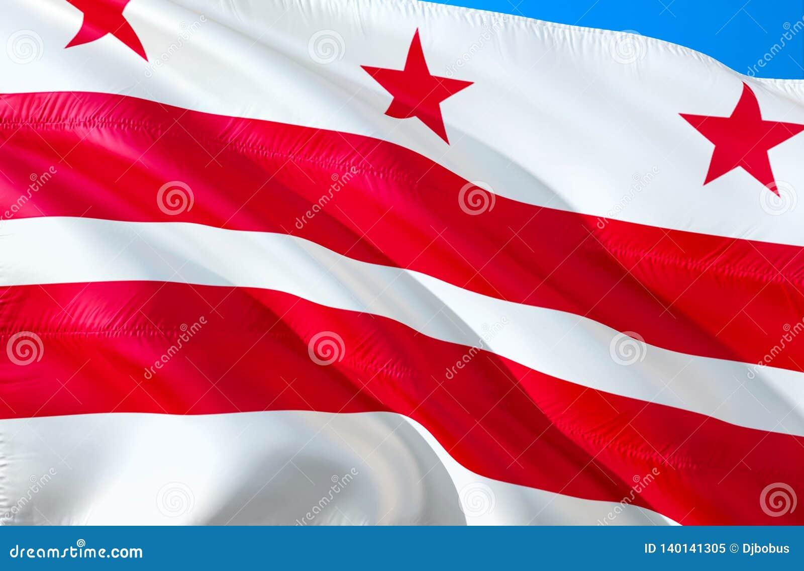 Das Washington Gleichstrom--Weiße Haus C Markierungsfahne 3D, das USA-Staatsflaggenentwurf wellenartig bewegt E C r eingebürgert