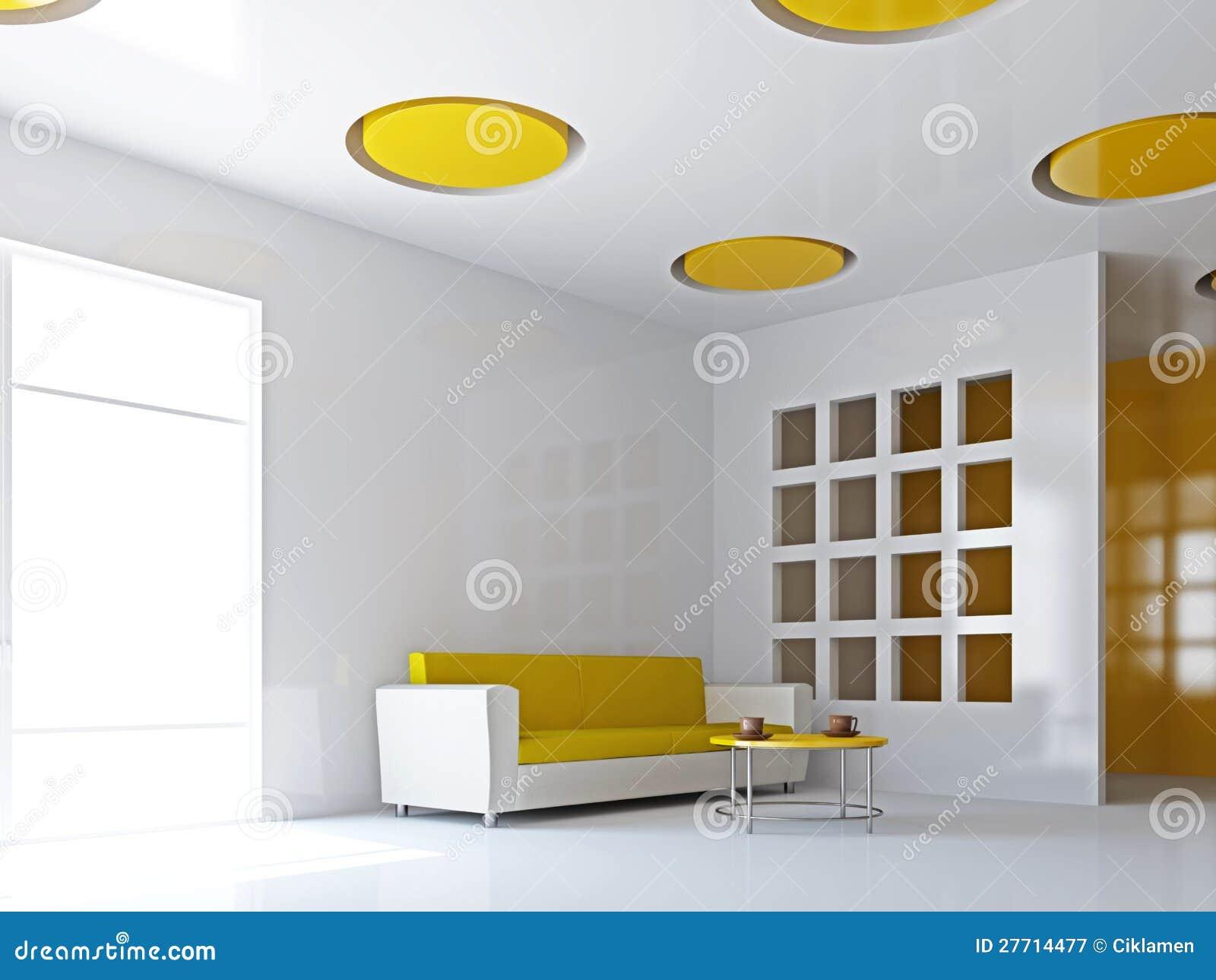 Das Wohnzimmer Mit Gelbem Sofa Stock Abbildung - Bild: 27714477