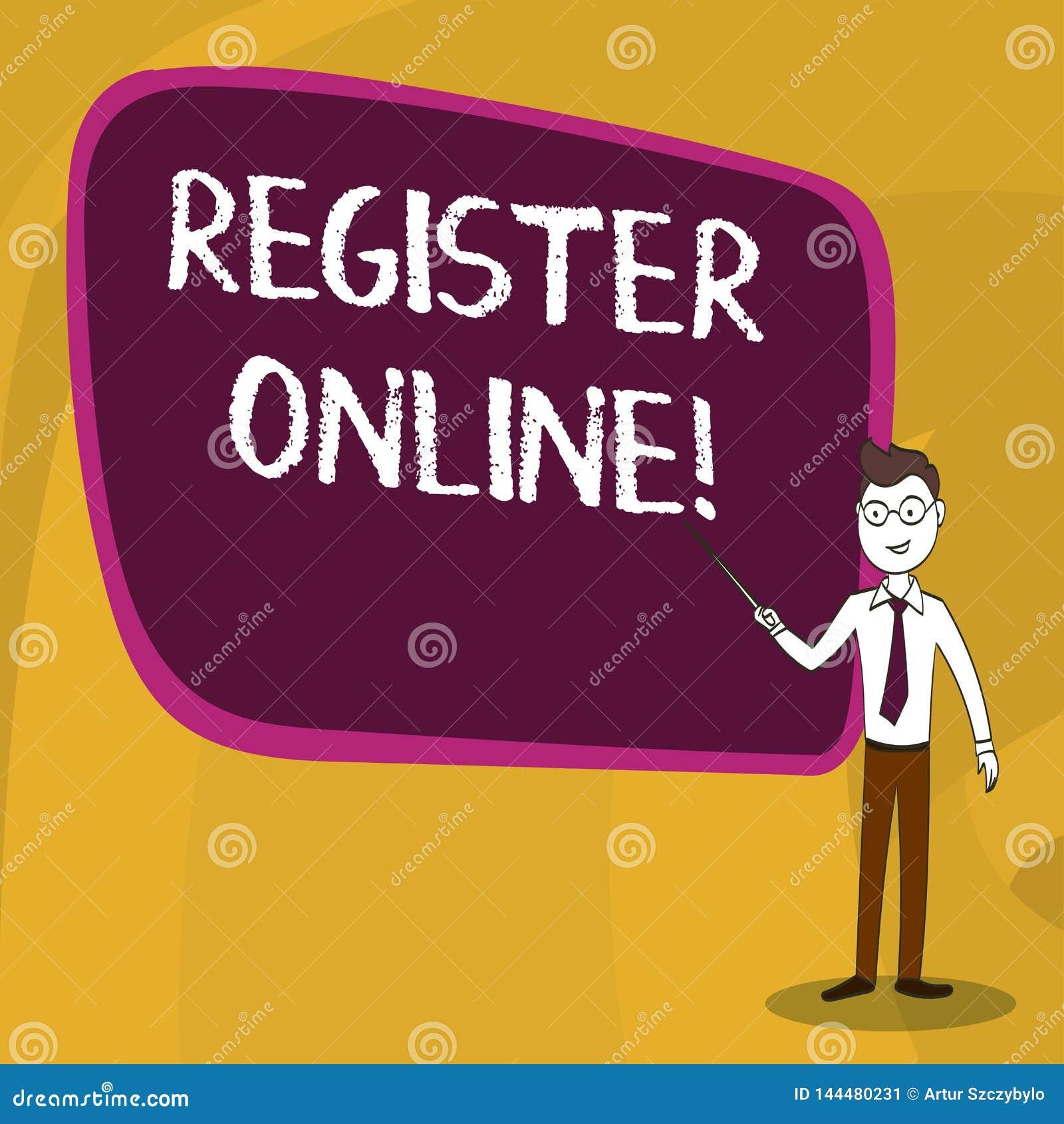 Das Wort, das Text schreibt, registrieren online Gesch?ftskonzept f?r amtliche B?rsennotierung oder Rekordvertretung oder Sachen