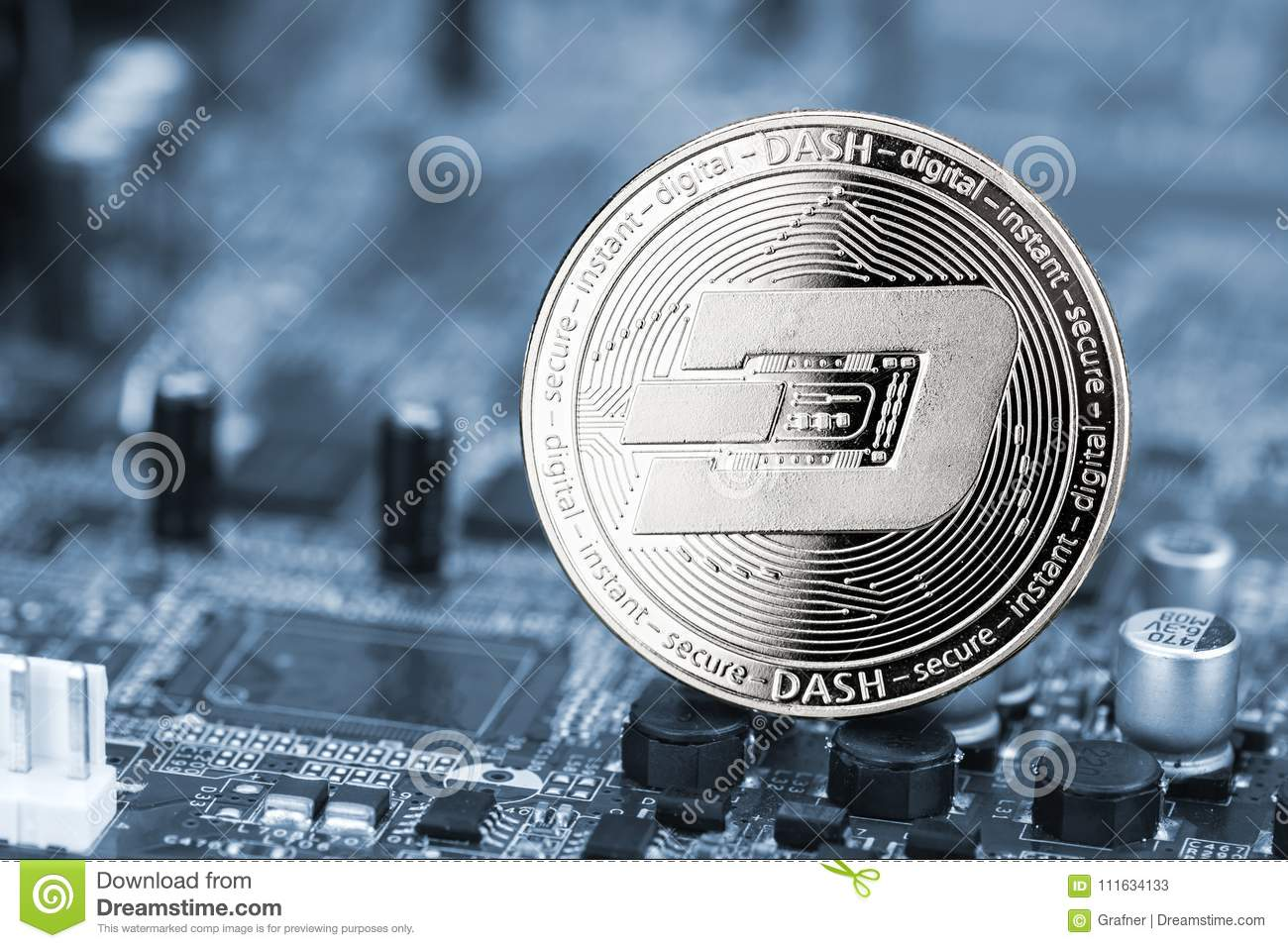 Dash Crypto Currency Silver Coin Mining Computer Background Stock