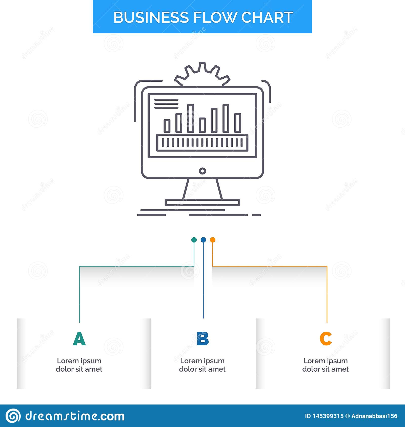 dashboard, admin, monitor, monitoring, processing business flow chart  design with 3 steps  line icon for presentation background template place  for text