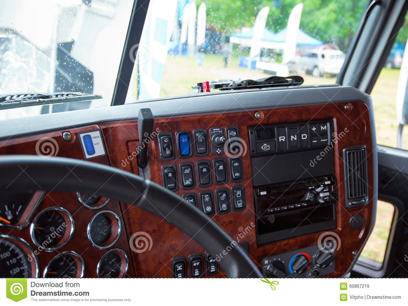 Dashboard Console In Interior Of Modern Truck Inlaid Wood Stock Image Image Of Dash Indicators 60867219