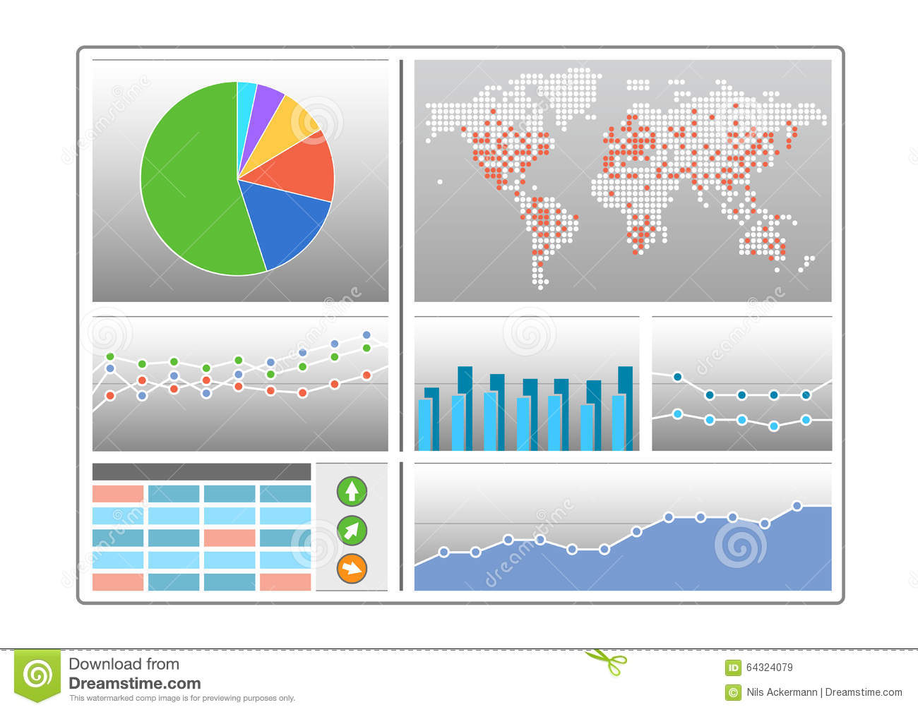 Dashboard With Different Types Of Charts Like Pie Chart, World Map ...