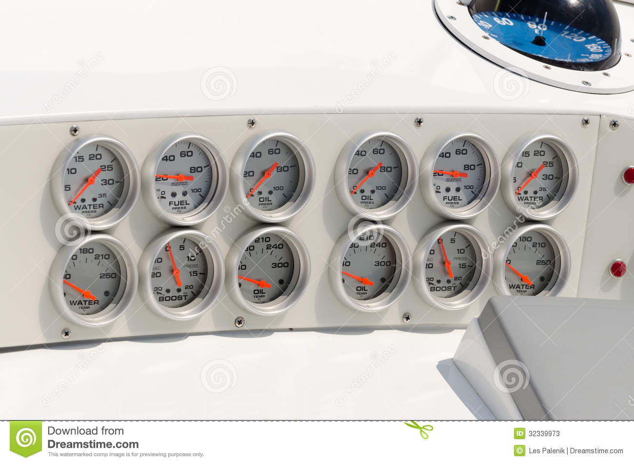 Boat Instrument Panel : Dashboard in a power boat stock photos image