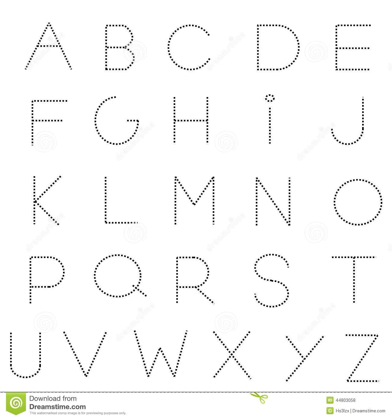 Dashed Line Alphabet Set Stock Vector - Image: 44803058