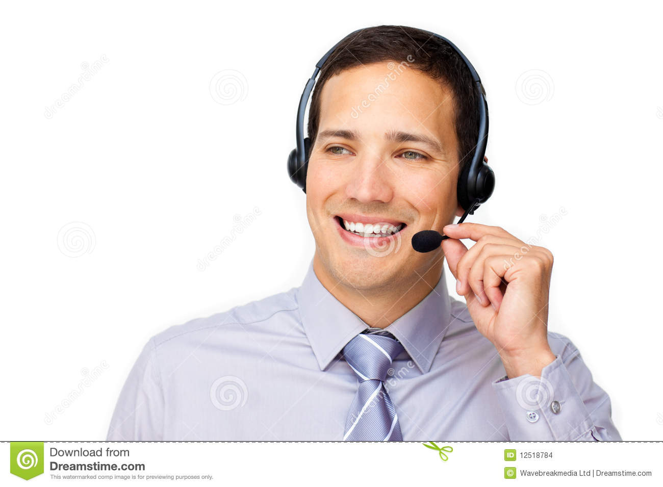 Dashing customer service agent with headset on