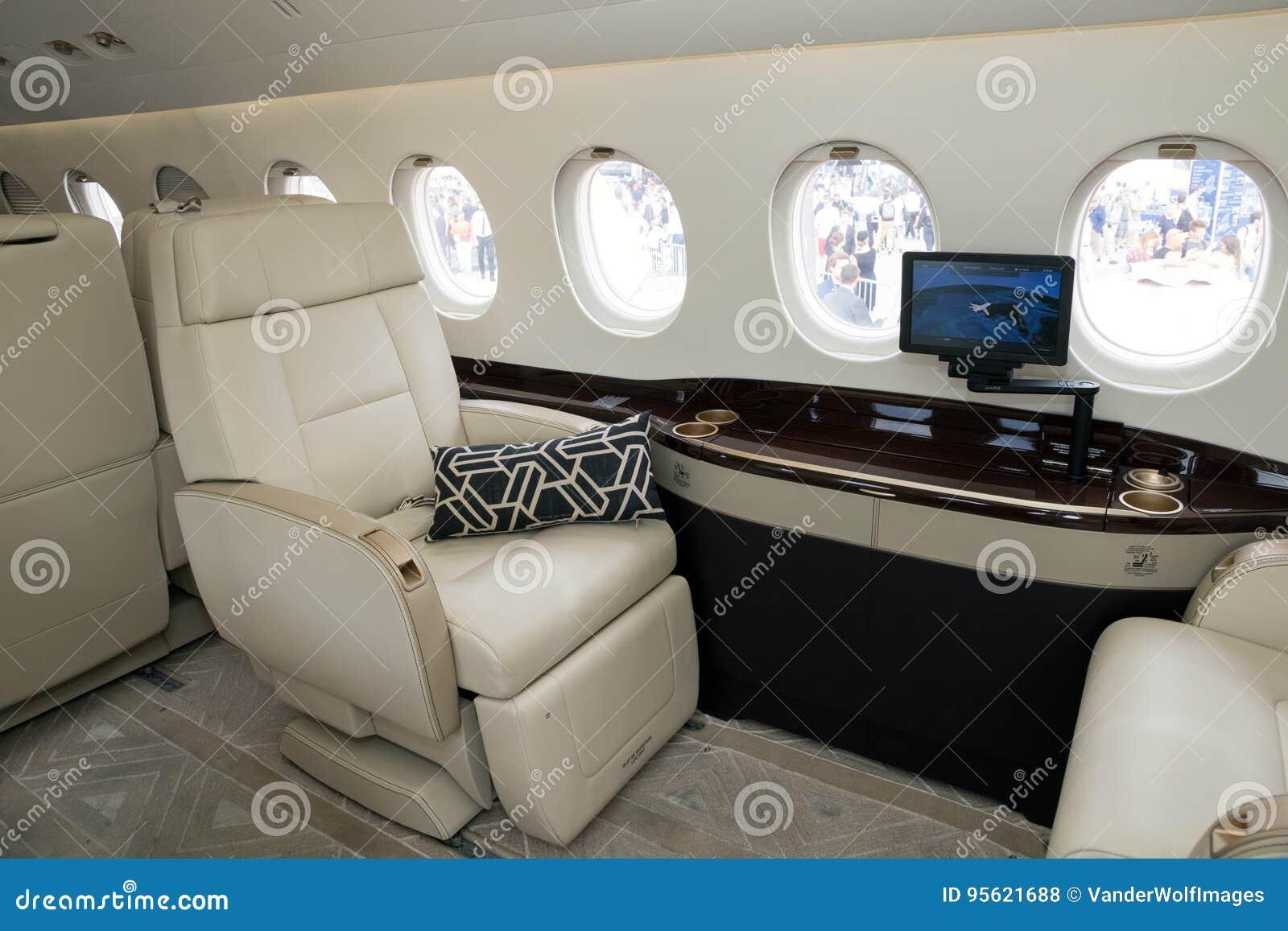Dassault Falcon Business Jet Cabin Interior Editorial Stock