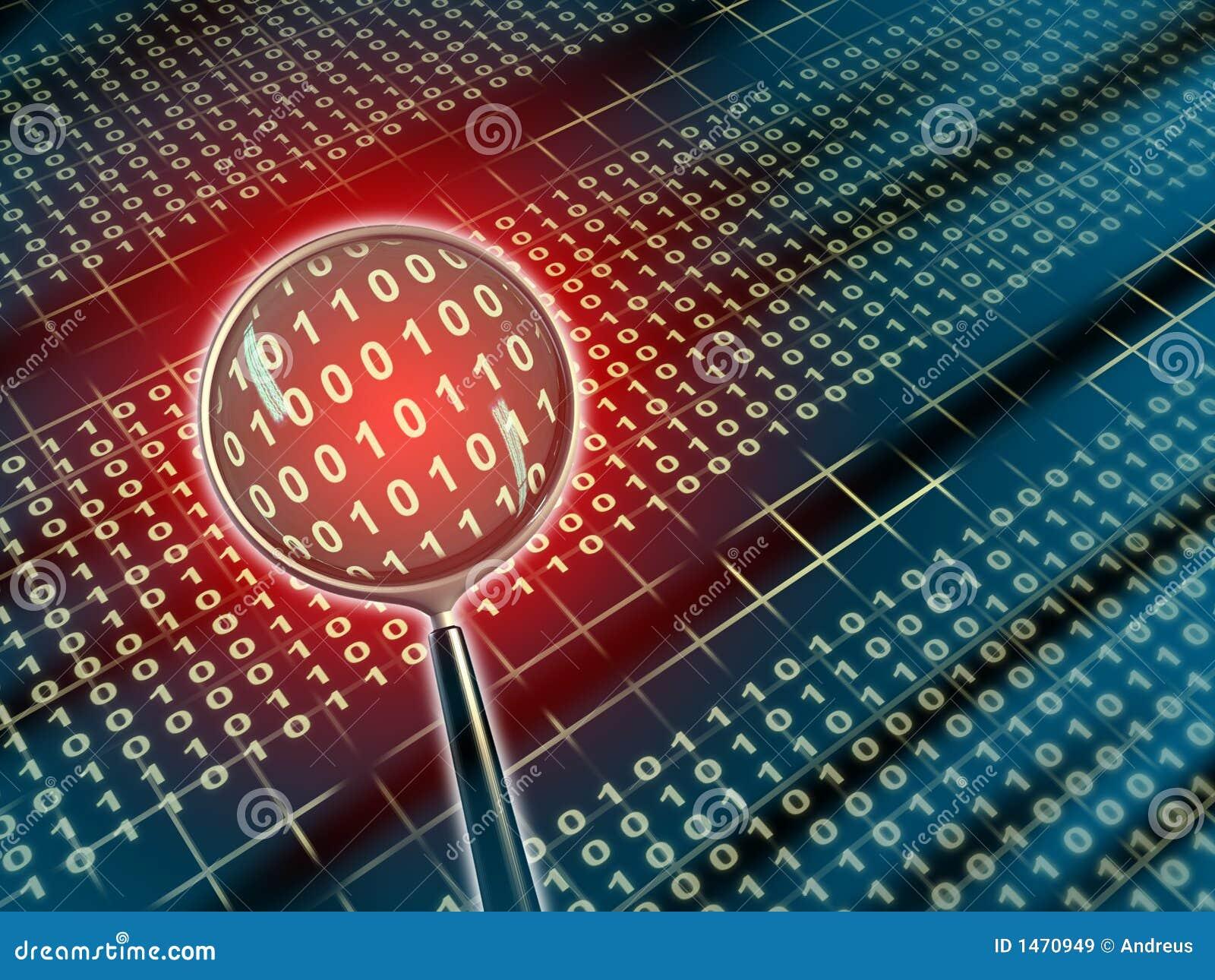 Binary data under a magnifying lens. Digital illustration.