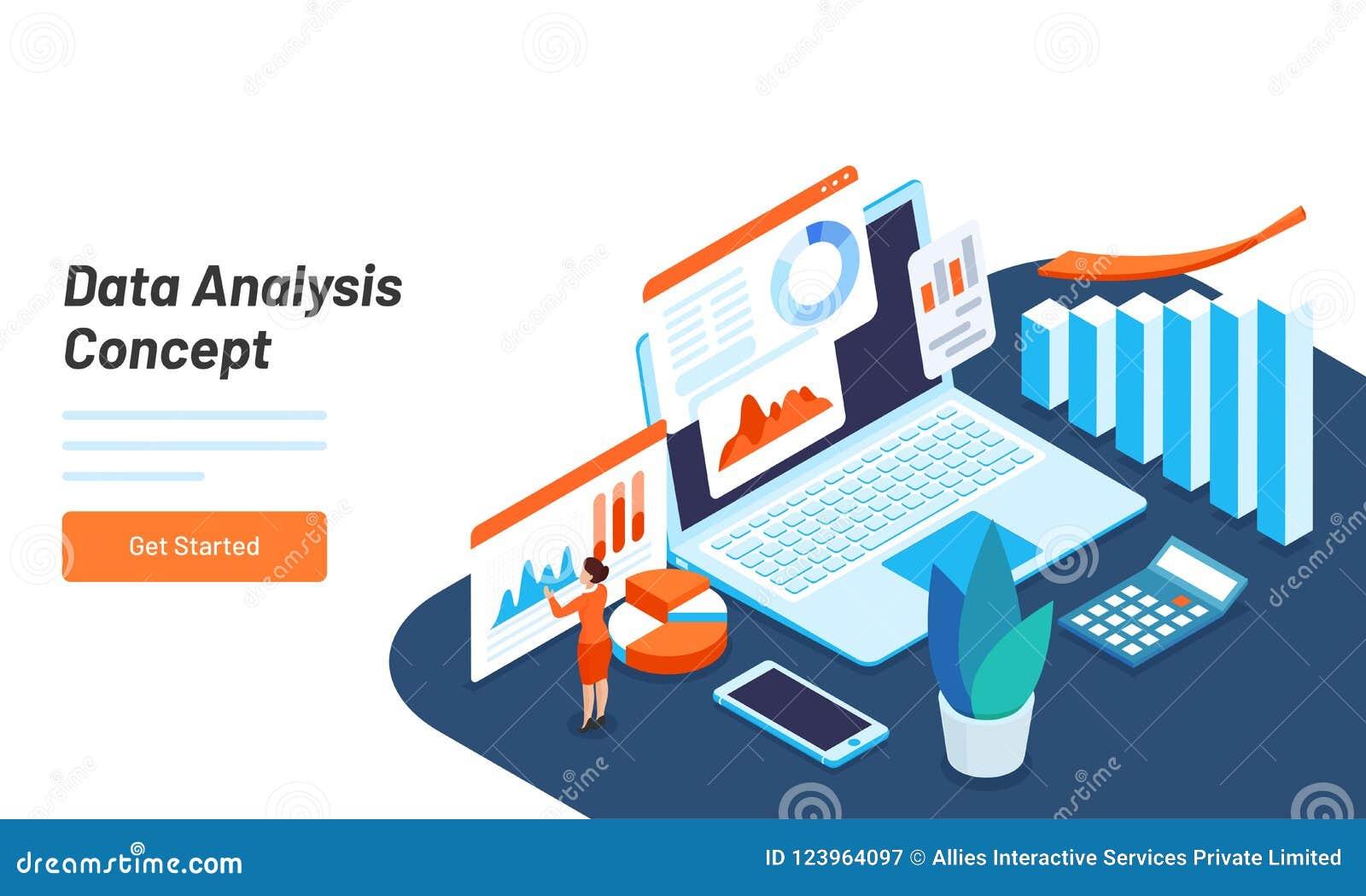 data analysis concept web template design with isometric illustr