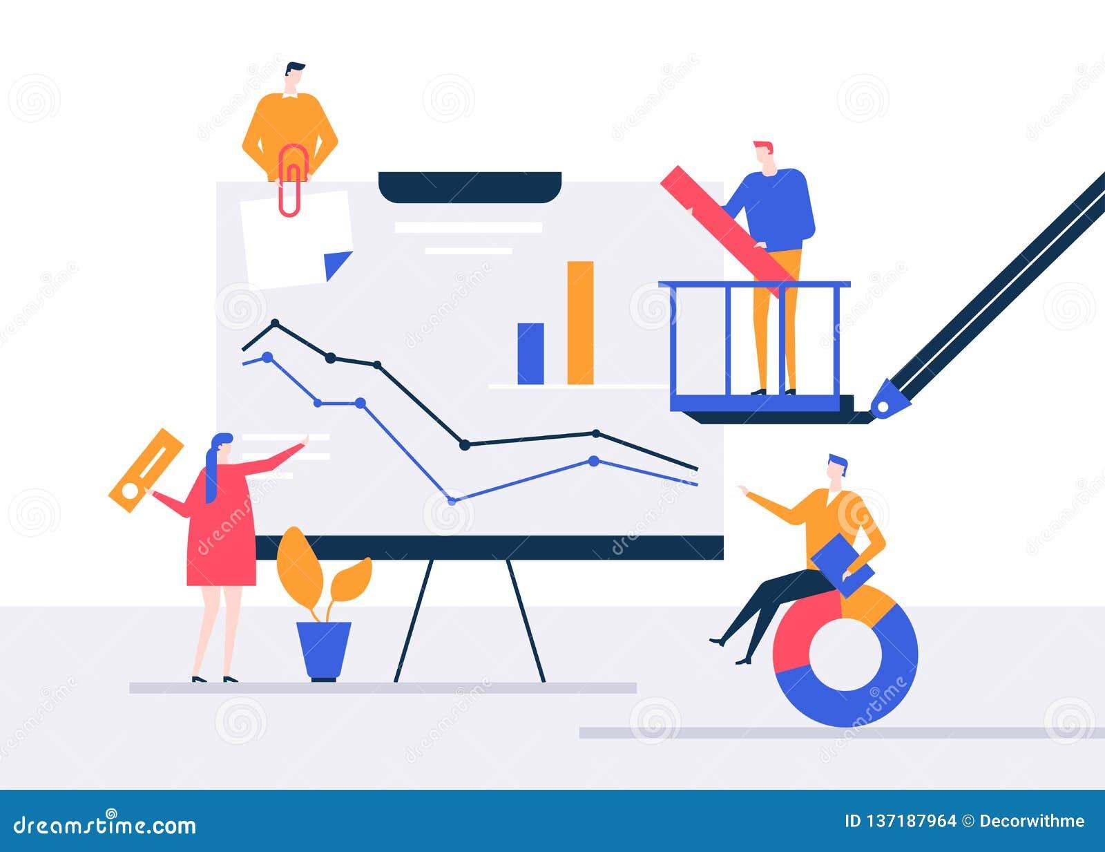 Data Analysis - Flat Design Style Colorful Illustration