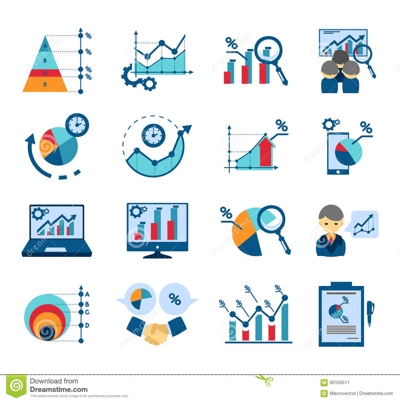 Data Analysis Flat Icons Collection Stock Vector