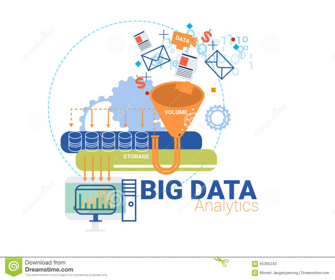 Data Analytic And Big Data Concept Vector Illustration
