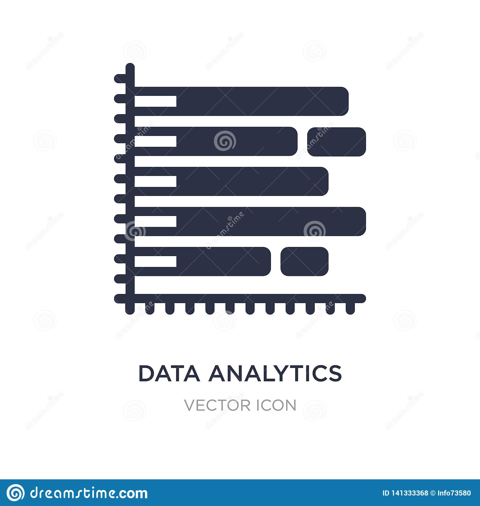 data analytics bars chart with descendant line icon on white background. Simple element illustration from Business concept