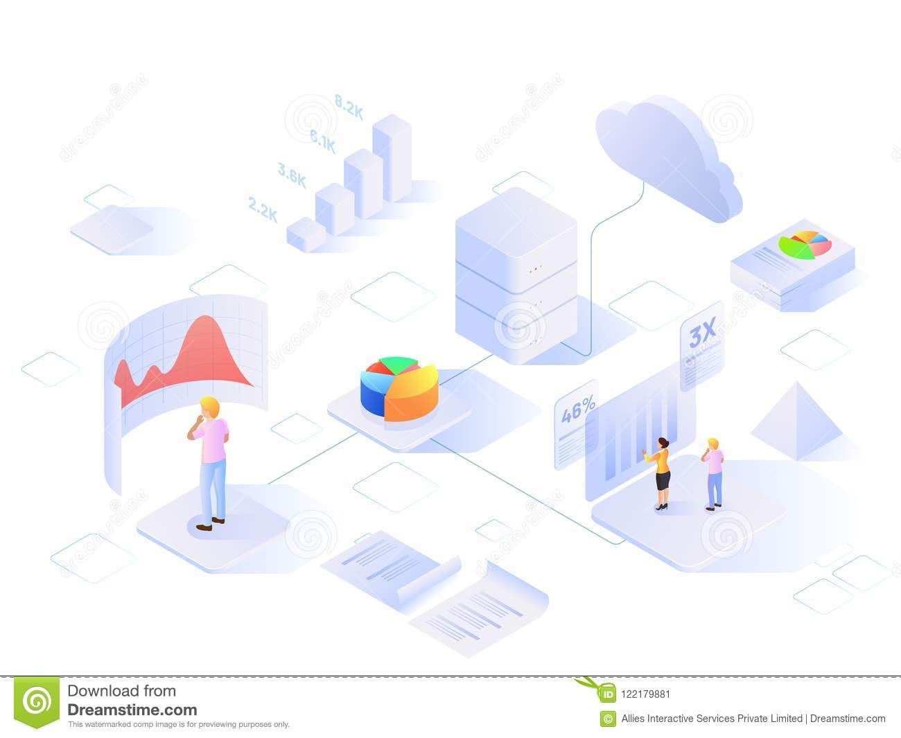 Data Analytics based web template design with isometric view of