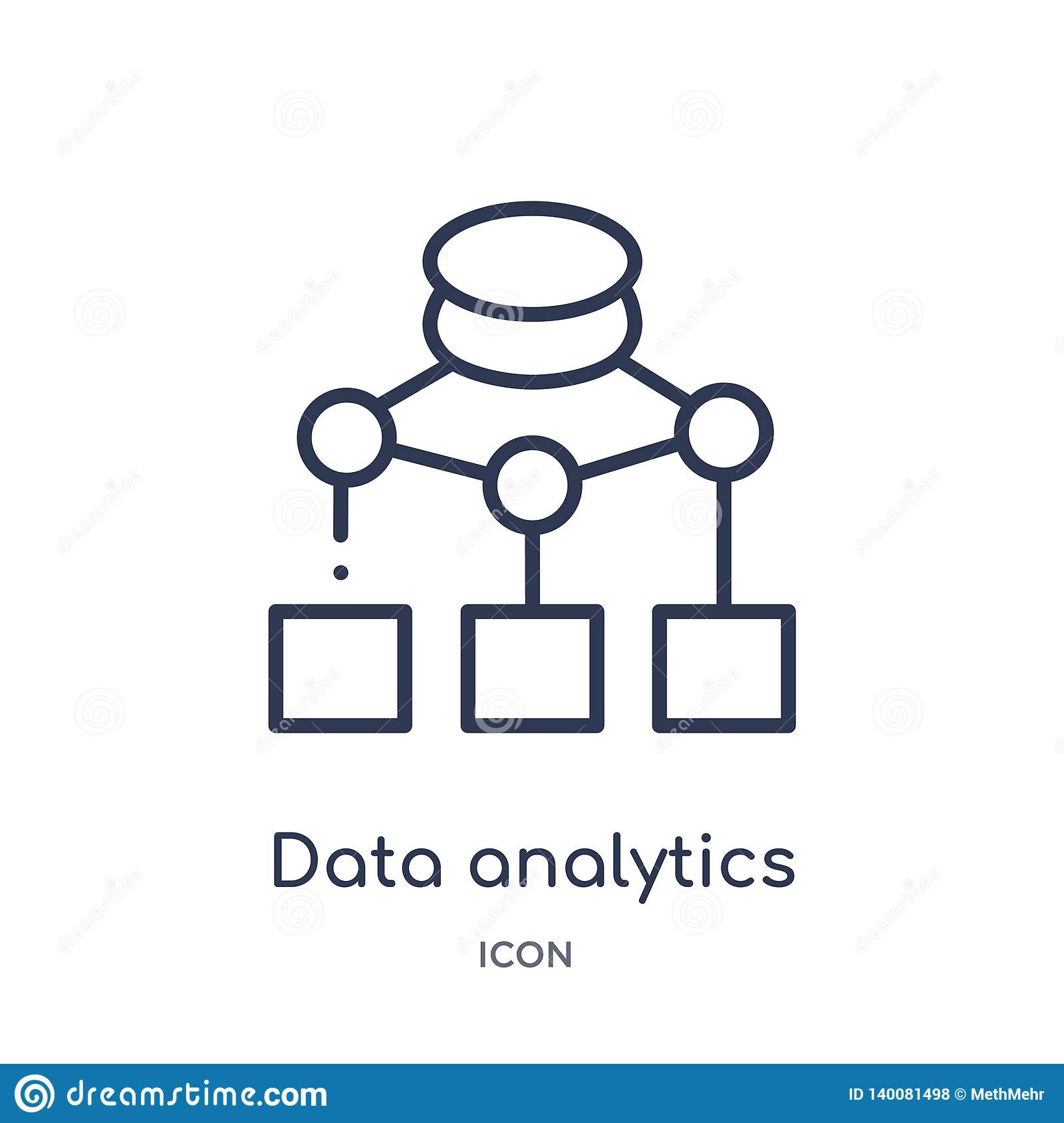data analytics flow chart icon from user interface outline collection. Thin line data analytics flow chart icon isolated on white