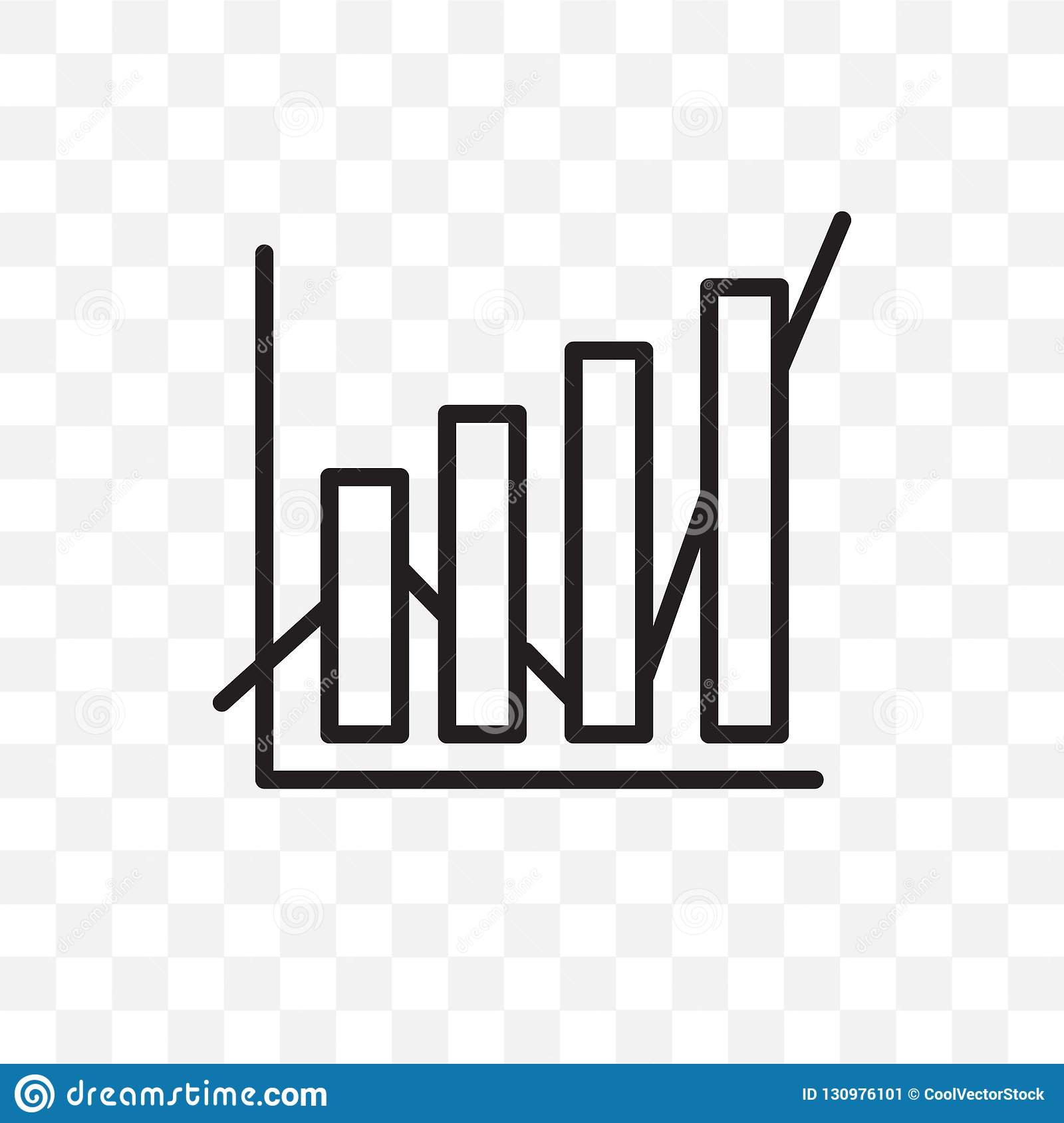 Data analytics vector linear icon isolated on transparent background, Data analytics transparency concept can be used for web and