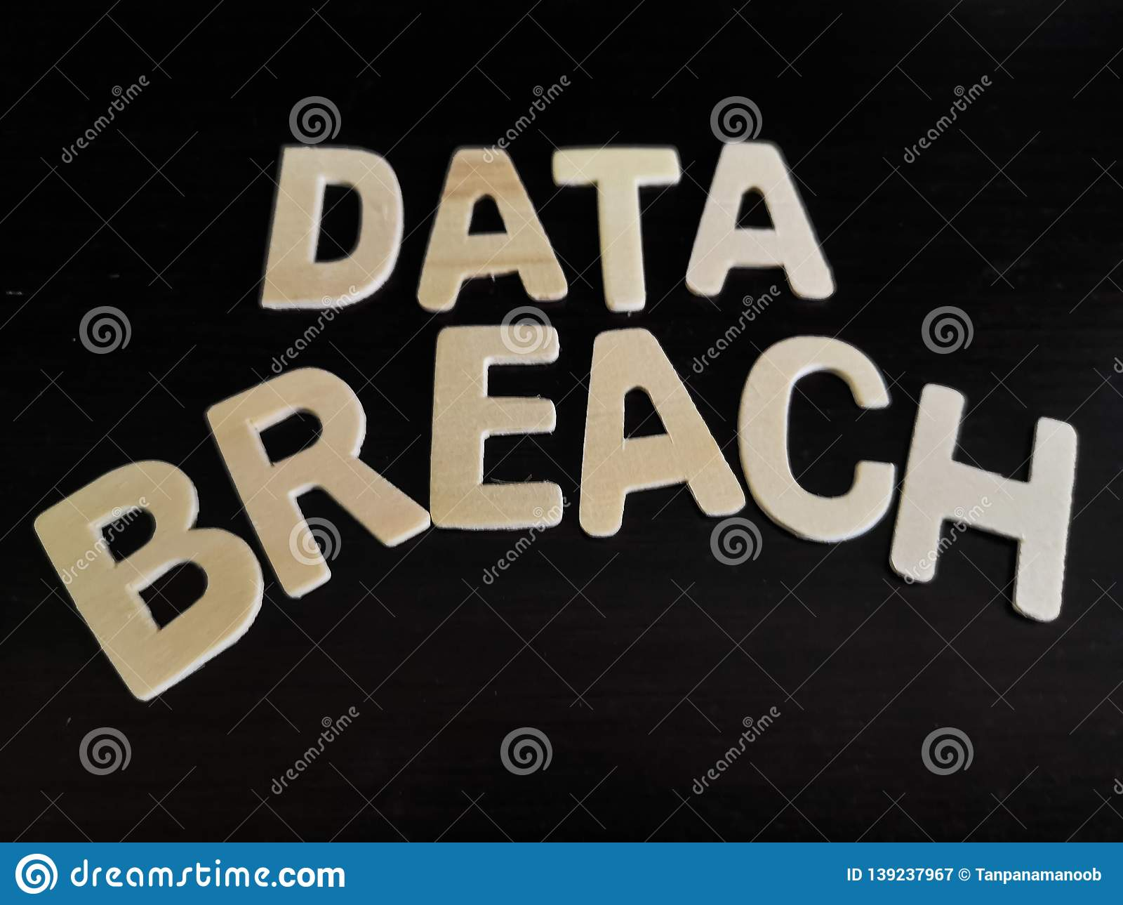 Isolated word of data breach with a dark background