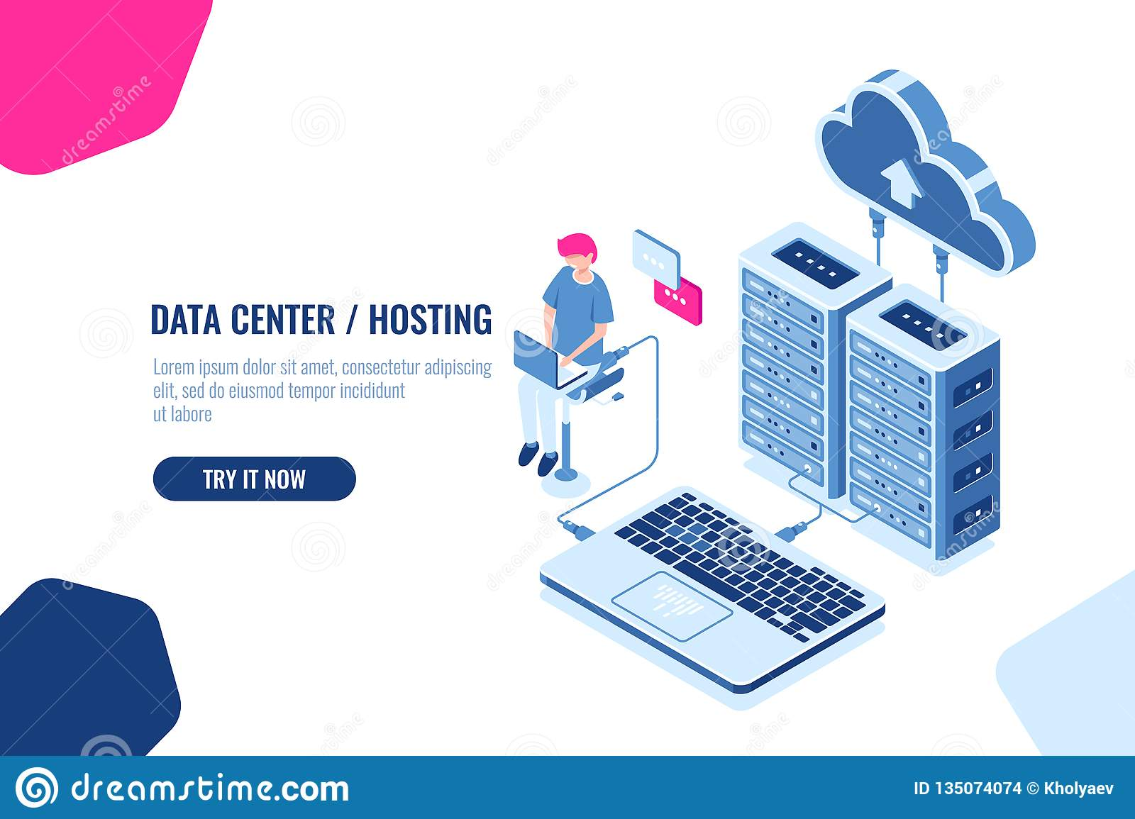 Data calculation and auditing isometric, engineer working with cloud storage, server room, datacenter and database icon