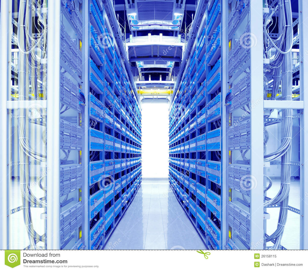 shot of network cables and servers in a technology data center.