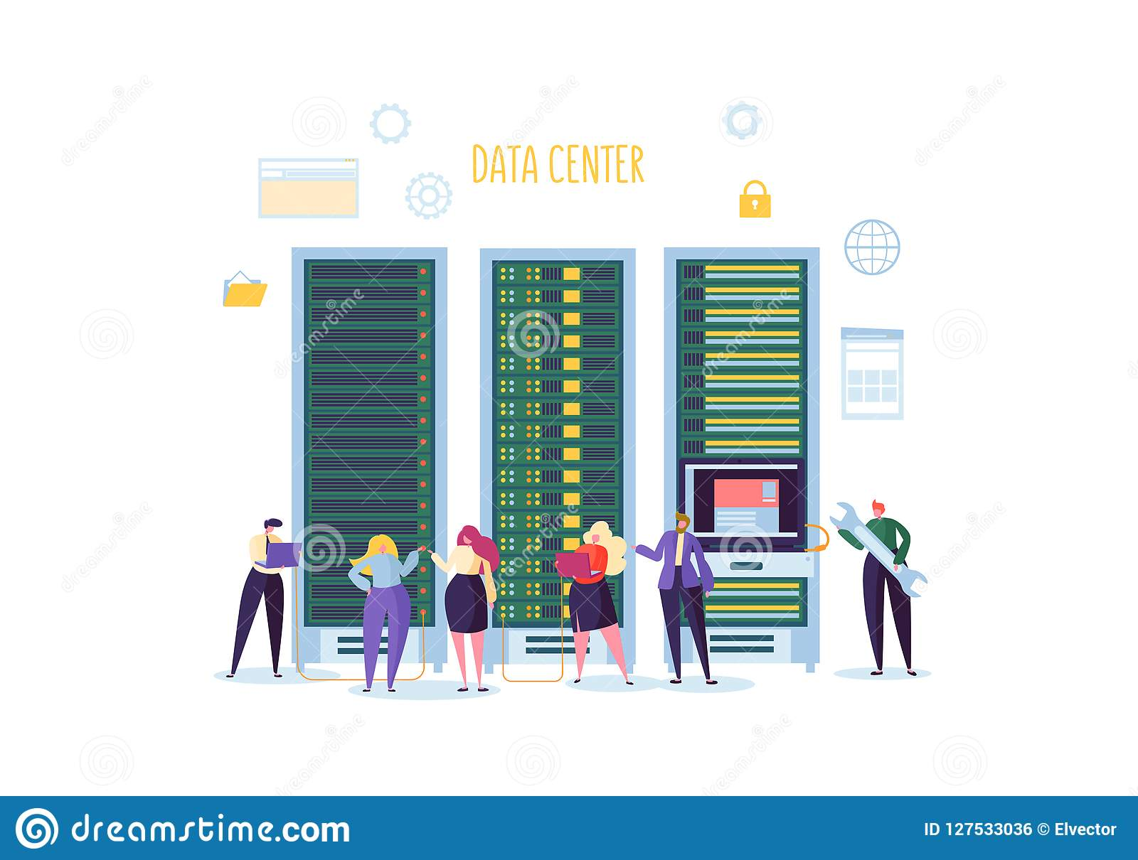 Data Center Technology Concept. Flat People Characters Engineers Working in Network Server Room. Web Hosting