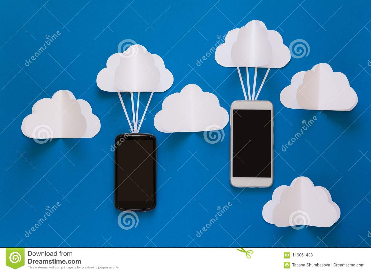 Data communications and cloud computing network concept. Smart phone flying on paper cloud.