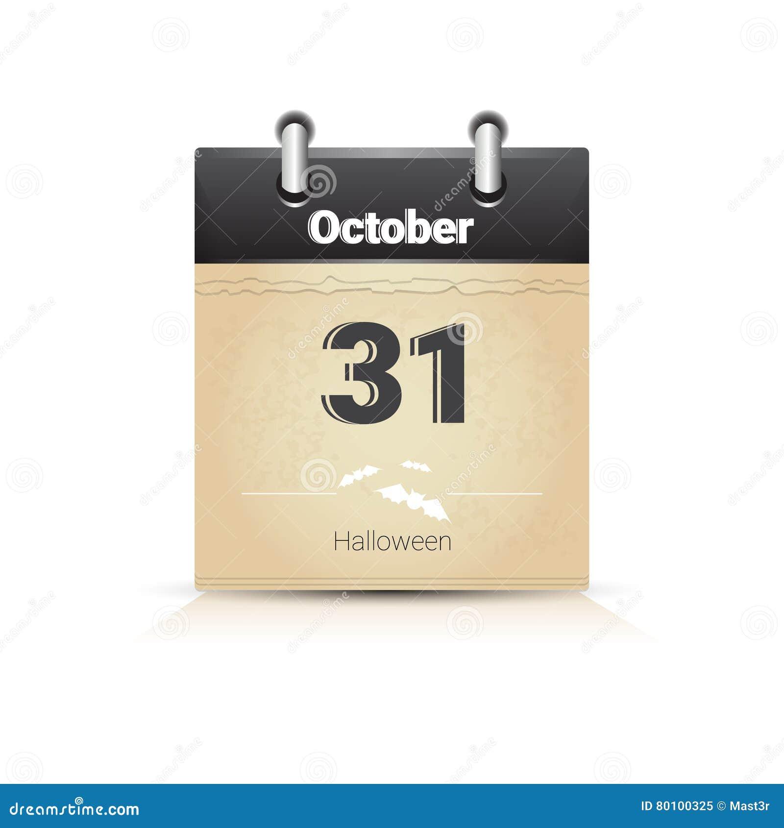 Data Di Halloween.Data Di Calendario Pagina Halloween 31 Ottobre Illustrazione