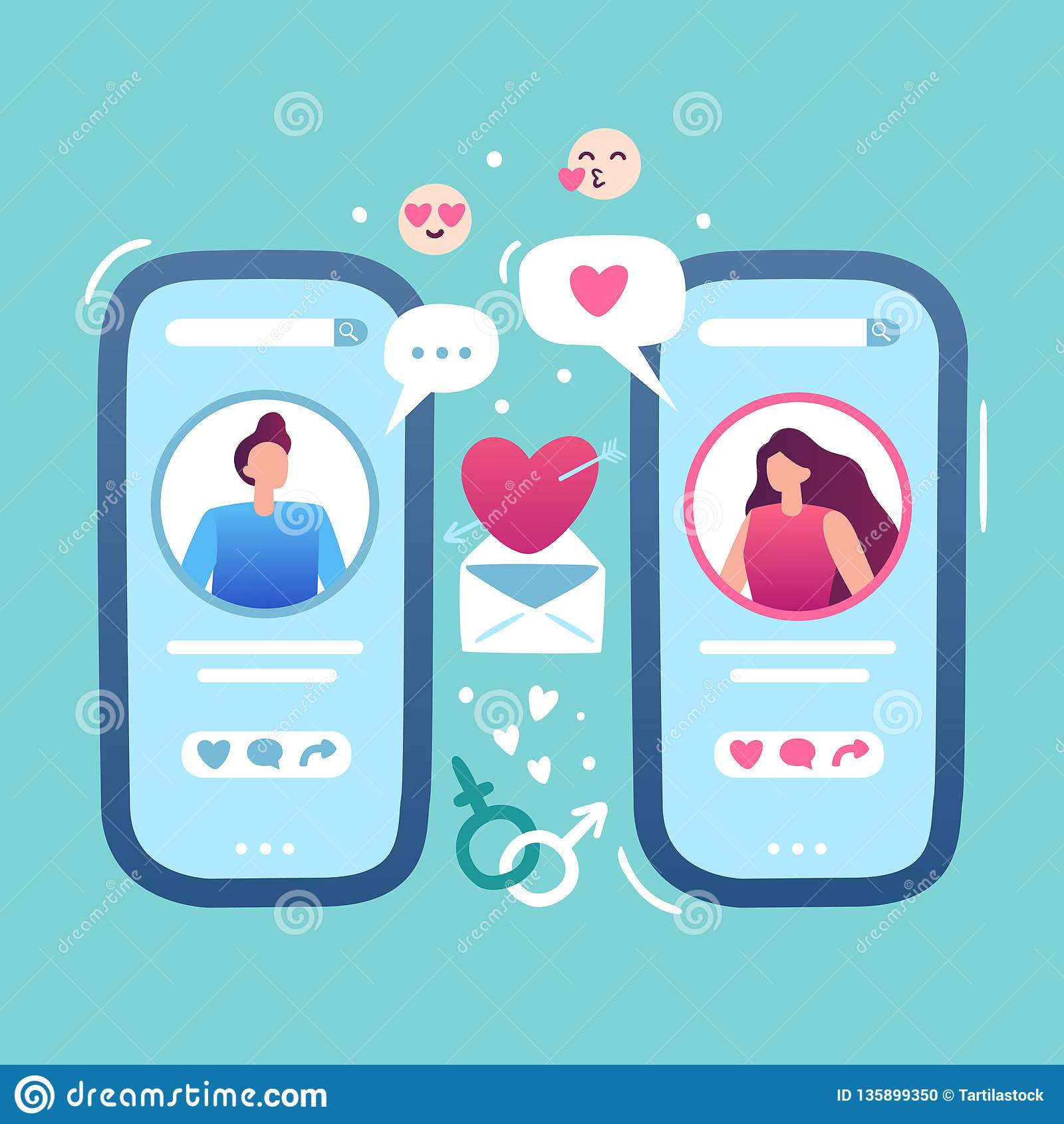 Data em linha romântica Amor do Internet que data o local do app, o fêmea e o masculino da posse do smartphone e do fósforo dos p